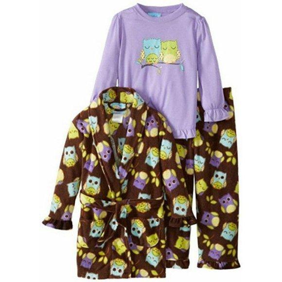 Bunz Kids Other - Bunz Kids 3Pc Pajamas & Robe Sleepy Owls Girls 4T